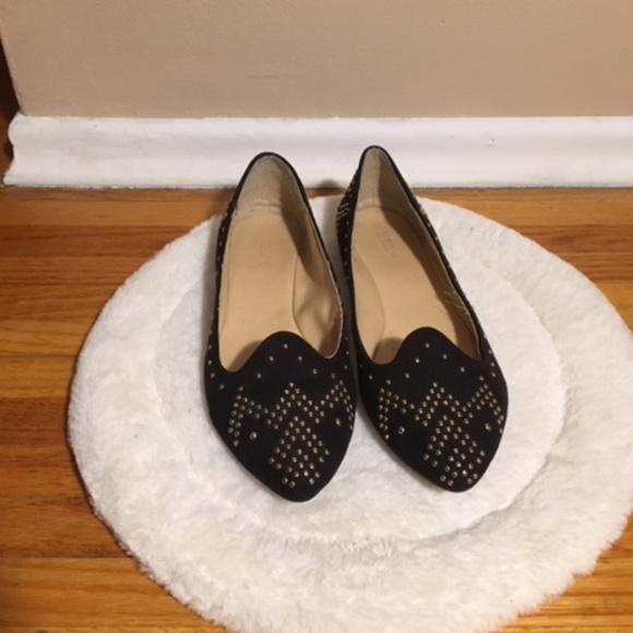 Expression Shoes - Gold Studded Black Flats